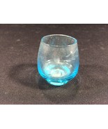 "Vintage Blue Etched Floral Shot Glass Collectible 1-3/4"" - $11.99"