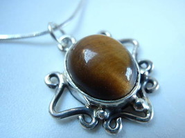 LAST ONE Tiger Eye 925 Sterling Silver Necklace Corona Sun Jewelry - $19.75