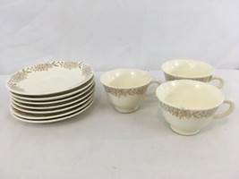 Taylor Smith Taylor Vtg USA Made 3 Tea Cups 7 Saucers (10) - $28.71