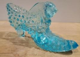 Vintage Fenton Light Blue Hobnail Glass Shoe Cat Head  - $9.74