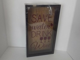 Wine Cork Holder Shadow Box Wall Mounted Save Water Drink Water - $29.65