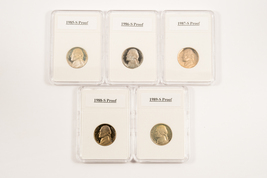 1985-S to 1989-S Proof Jefferson Nickles - $10.95