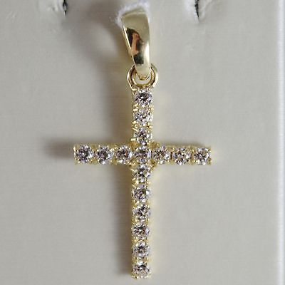 18K YELLOW GOLD CROSS WITH ZIRCONIA 0.64 CARATS, 1.14 INCHES, MADE IN ITALY