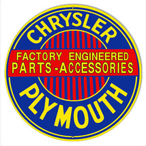 """Chrysler Plymouth Parts Reproduction Gas Station Sign 14""""x14"""" Round - $23.76"""