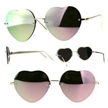 Womens Rimless Pink Mirror Heart Shape Gold Metal Rim Sunglasses - £9.19 GBP