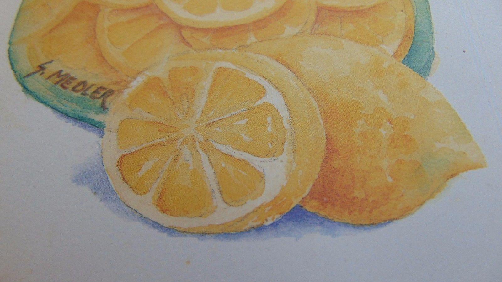 Lemon Picture Framed S.Medler Artist-1997-HoneyLemonVinegar-Jar-Kitchen Wall Art