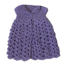 Barbie Doll Clothes Crochet Lavendar Open Front Long Cardigan Handmade - $6.49
