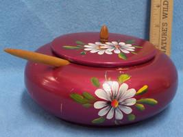 Wooden Spice Box Round Handpainted Wooden Scoop Brazil - $11.83