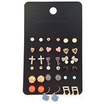 Women Assorted Multiple Gold Plated Studs Earrings Set Mix Rhinestone Bo... - $6.89