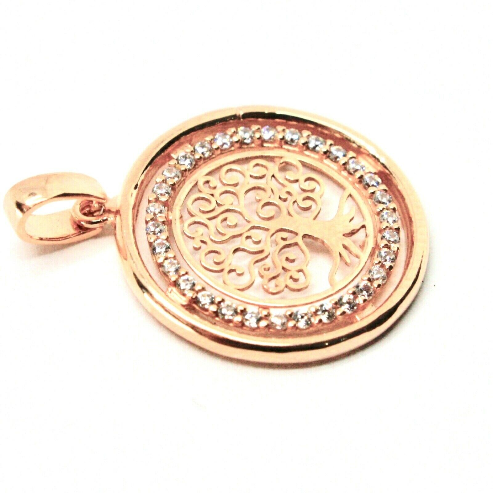 Pendant Tree of Life Gold 18K 750 Pink and Zircon Cubic Made in Italy