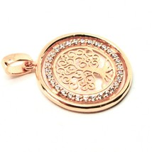 Pendant Tree of Life Gold 18K 750 Pink and Zircon Cubic Made in Italy image 1