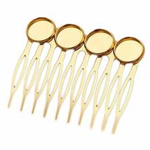 5 Pcs Gold Tone 10 Teeth Metal Side Comb Cabochon Setting Hairpin DIY Artcraft P
