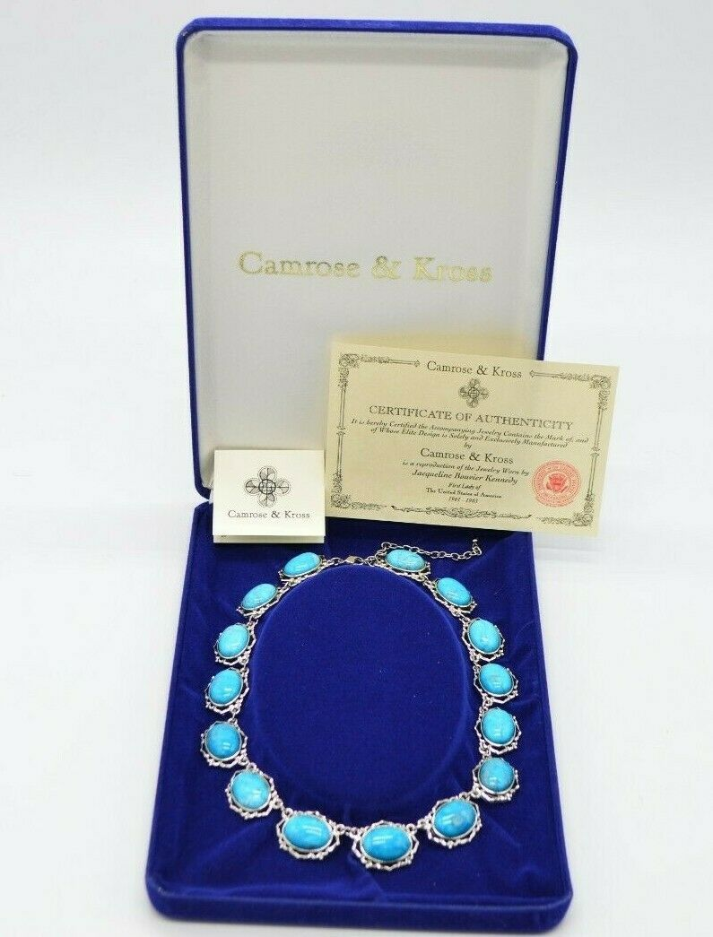 Primary image for Camrose Kross JBK Faux Turquoise Blue Howlite Silver Tone Necklace COAs New