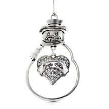 Inspired Silver Jingle Bells Pave Heart Snowman Holiday Decoration Christmas Tre - $14.69