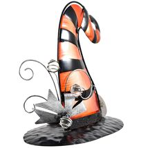 Striped Orange Black Metal & Glass Witch Hat Halloween Tabletop Candle Holder image 5