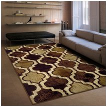Modern Viking Coffee Geometric Trellis Design 8' x 10' Area Rug Water Re... - $123.95