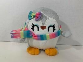 Animal Adventure plush penguin silver sparkles glitter rainbow scarf bow... - $9.89