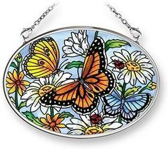 "Daisy Butterflies Sun Catcher AMIA New 3.25"" x 4.5"" Hand Painted Glass S... - €17,12 EUR"