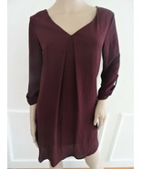 New Lush Clothing Karly Shift Work Day Dress 3/4 sleeve  Sz S Small Wine... - $16.78