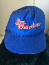 San Francisco California Blue Snap Back Ball Cap Hat New 1 Size With Red Writing - $8.81