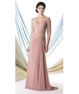 Mon Cheri Montage Mother Of The Bride Dress Size 6 Dusty Rose Lace Bodic... - $493.02