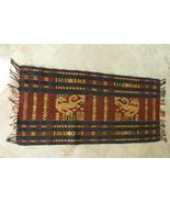 Traditional Hand spun Hand woven Sumba Songket Hinggi Ikat Figural Runne... - $75.99