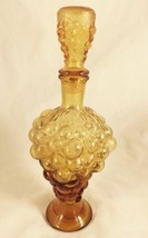 Vintage Amber Glass Decanter Grapes & Leaves Large - $15.00