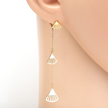 Gold Tone Designer Drop Earrings with Dangling Chain & Shell Shaped Accents - $15.99