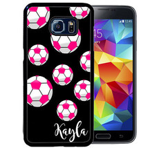 PERSONALIZED RUBBER CASE FOR SAMSUNG S9 S8 S7 S6 S5 PLUS PINK SOCCER BAL... - $13.98