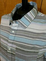 Vans Striped Shirt Gray Blue Short Sleeves Mens Size XL Off The Wall NWT - $19.75