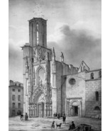 FRANCE Cathedral & Main Square at Aix en Provence - SUPERB 1843 Antique ... - $39.60