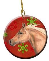 Caroline's Treasures Horse Red Snowflakes Holiday Christmas Ceramic Orna... - $22.94