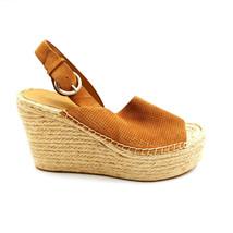 Marc Fisher Womans Mlandela Espadrille Platform Wedge Sandal Gold Sz 7.5 M  - $39.59