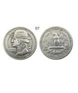US Hobo 1936 Washington Quarter Dollars Faceless Man skull skeleton Coins - $7.99