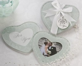 50 Heartfelt Memories Frosted Glass Bridal Wedding Heart Photo Coaster Favors - $109.11