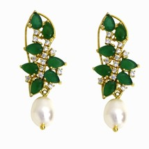 Awesome Green Onyx, Pearl with White Topaz Gemstone 925 Silver Earring S... - $48.59