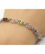 925 Silver - Vintage Colorful  Cubic Zirconia Swirl Detail Bracelet - B1066 - $41.05
