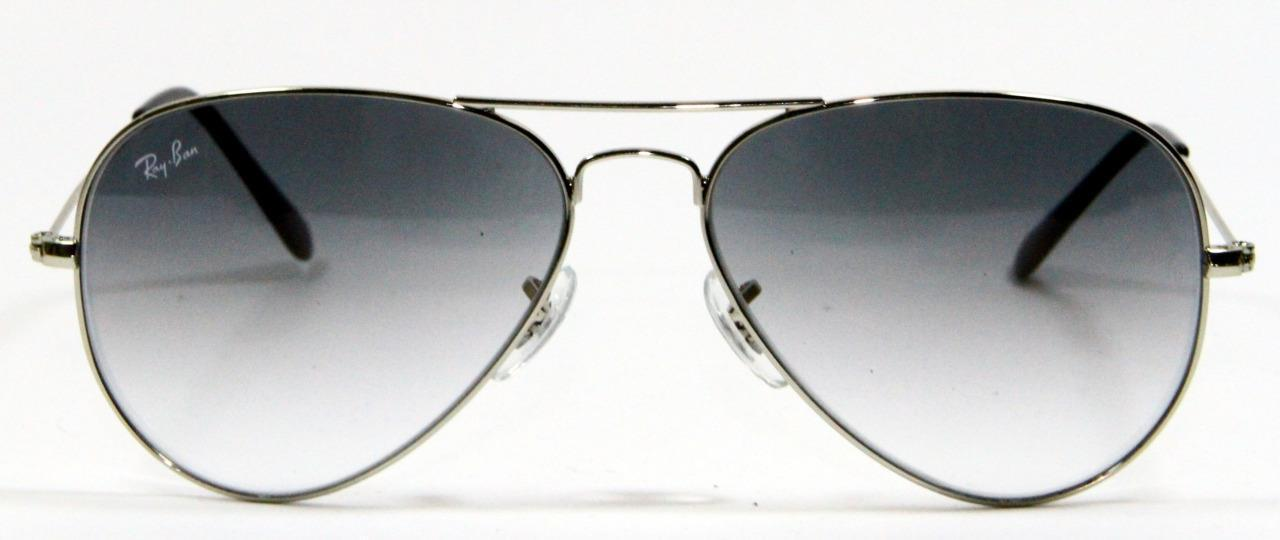 Primary image for Ray Ban 3025 003/32 Aviator Silver Gradient Sunglasses 58mm New and Authentic