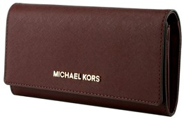 Michael Kors Purse Wallet Carryall Jet Set Merlot Red Leather Large RRP ... - $196.08