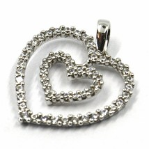 SOLID 18K WHITE GOLD PENDANT DOUBLE HEART WITH CUBIC ZIRCONIA, 18mm, 0.7 inches image 2
