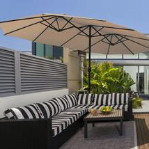 15 Ft Patio Umbrella Outdoor Umbrella with Crank & Base-Beige - $292.45