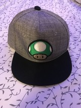 Youth SUPER MARIO Mushroom Green Grey Ball Cap Hat NINTENDO Fitted Small... - $25.73