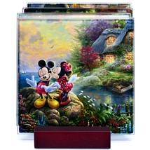 Thomas Kinkade Mickey & Minnie Sweethearts Prints 4 Pc Fused Glass Coaster Set image 2