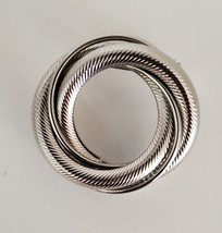 Circle Brooch Silver Tone Textured & Shiny Vintage Pin Dainty Costume Je... - $14.99