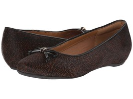 New Clarks Artisan Women Alitay Giana Flat Black/Brown Spot Haircalf Siz... - $78.05