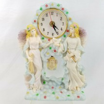 Swinging Pendulum Cherub Angel Figurine Quartz Desk Clock Stars Bird Ins... - $28.68