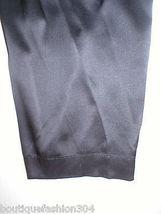New NWT $195 Medium Designer Josie Natori Silk Pants Black Key Crop Capri Lounge image 5
