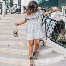 Summer Style Women's Sexy Off shoulder Striped Sundress image 2