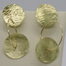 18K YELLOW GOLD FINELY WORKED AND HAMMERED PENDANT DOUBLE DISC & CIRCLE EARRINGS image 1