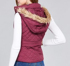 Plum Puffer Vest, Plum Quilted Vest, Quilted Vest with Faux Fur Hood image 2